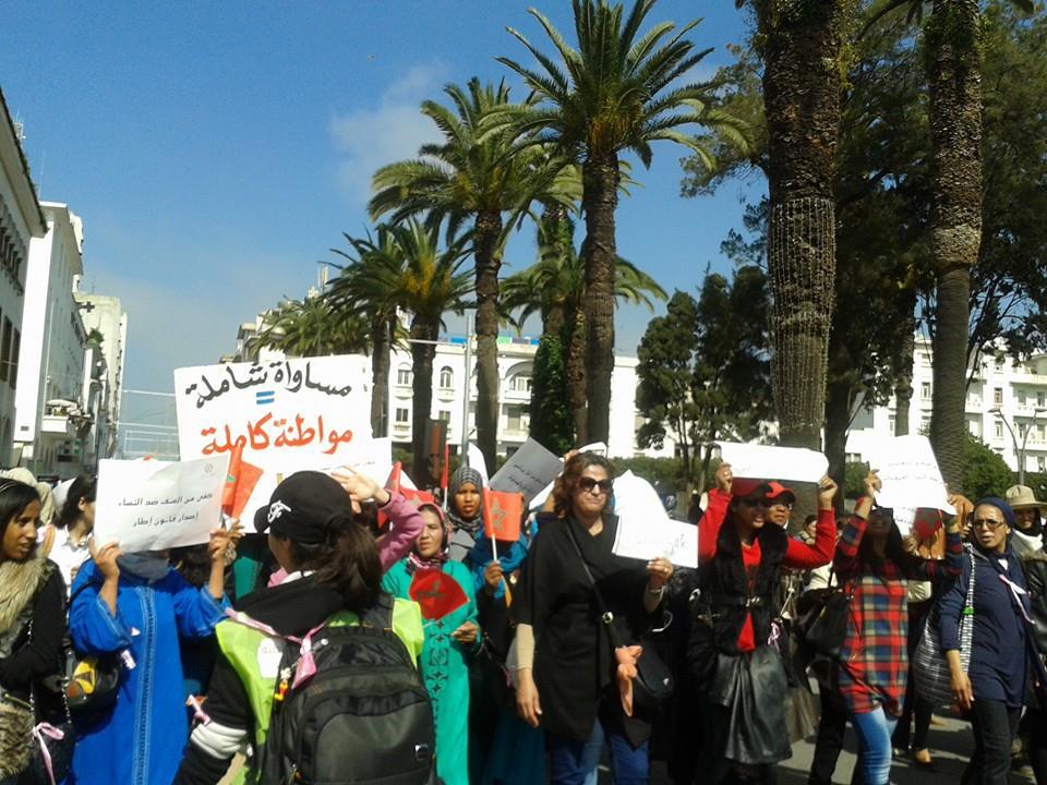 Marcha de mujeres en Rabat