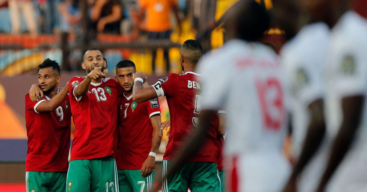 Celebración de los jugadores de Marruecos tral el gol ante Namibia 1-0