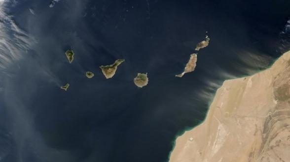 mapa satélite islas canarias y fronteras marítimas