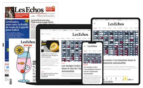 cartel y diseño del medio Les Echos