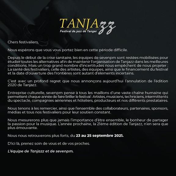 cartel en francés sobre la suspensión de Tanjazz 2020