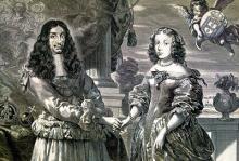 retrato Carlos II Inglaterra y Catalina de Bragança, Portugal