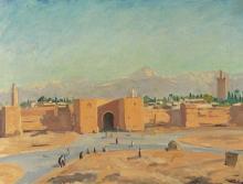 cuadro 'Puesta de sol sobre las montañas del Atlas, 1935' de Winston Churchill