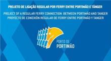 Logo puerto Portimao anuncio ferri con Tánger